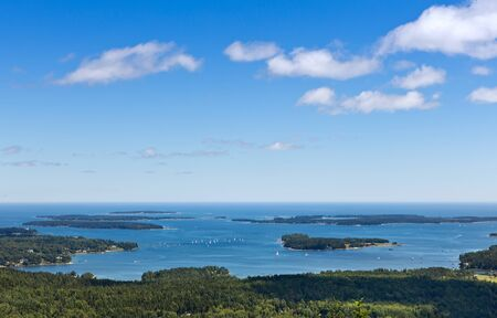 This is looking at Bar Harbor from Beech Mountain in Acadia National Park, Maine Stock Photo - 22412874