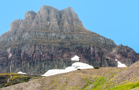 reynolds: This is Mount Reynolds which sits at the top of Logans Pass at an elevation of 9125 feet. Stock Photo