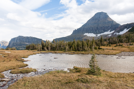 reynolds: This pool of water lies beside Mount Reynolds in the Logan Pass area. Stock Photo