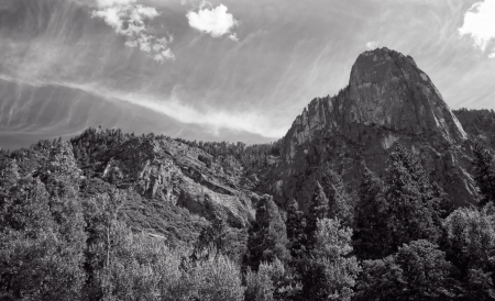 sentinel: Sentinel Rock is a granite peak in Yosemite National Park  Stock Photo