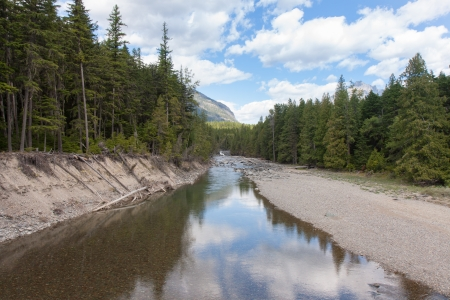 The background shows the end of a stretch of rapids and cascades as this river is transformed into a slow, shallow flow  Imagens