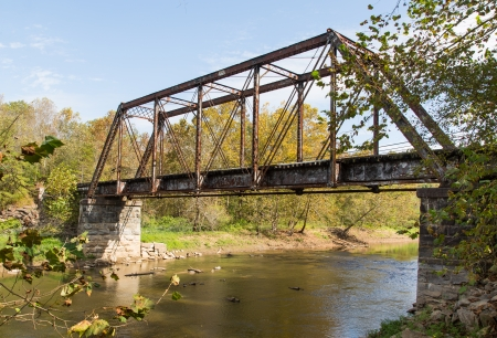 This old, unused railroad trestle crosses the Valley River in North Carolina.