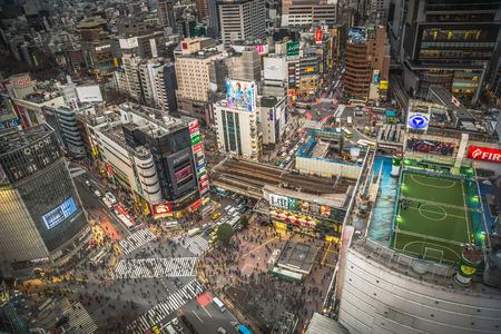 Aerial View Of Shibuya Crossing In Japan