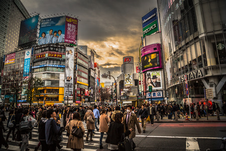 Sunset Over Shibuya Crossing Editorial