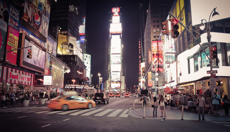Street Scene Of Times Square At Night - New York City
