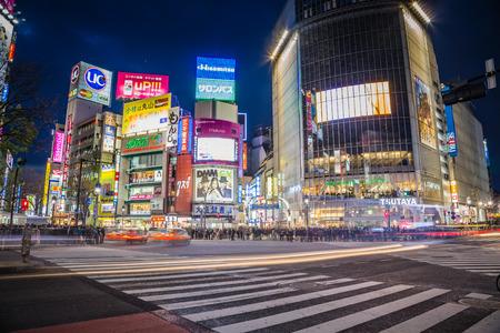 Trafic de nuit Shibuya Banque d'images - 29099941