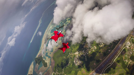 parachute jump: Wingsuit Flying In Koror, Palau