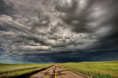 storm clouds: Storm Clouds Prairie Sky Saskatchewan Canada Stock Photo