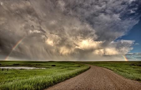 Nubes de tormenta Prairie Sky Saskatchewan Canadá Foto de archivo