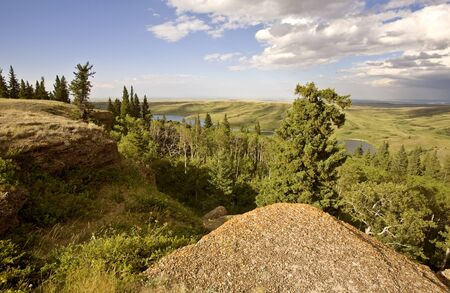 Cypress Hiils Canada conglomerate cliffs Saskatchewan view Stock Photo