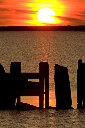 lake winnipeg: Sunset Hecla Island Manitoba Canada Stock Photo