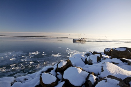Lake Superior in Winter Stock Photo