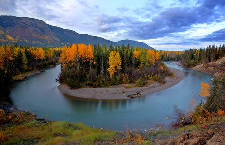 british  columbia: Autumn colors along Tanzilla River in Northern British Columbia