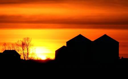 the setting sun: Setting sun backlighting farm buildings Stock Photo