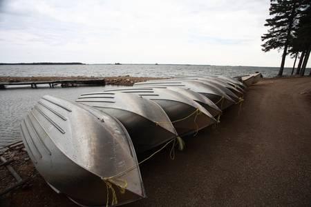 beached: beached fishing boats at Herb Lake Landing