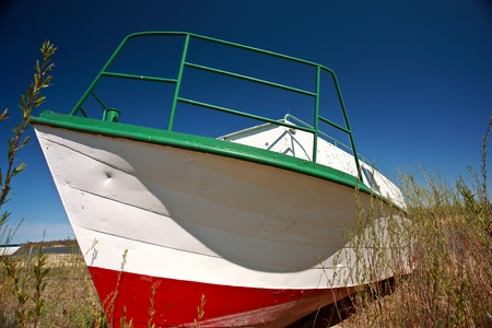 lake winnipeg: Beached fishing boat near Riverton Manitoba