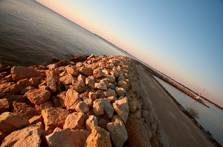 lake winnipeg: Breakwater along Lake Winnipeg Stock Photo