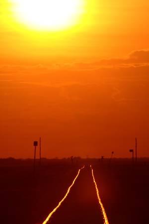 setting sun: Setting sun shining on railroad tracks Stock Photo