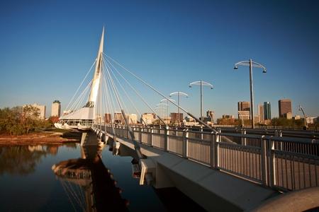 winnipeg: Unique walkway bridge over the Red River in Winnipeg