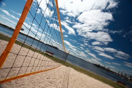 lake winnipeg: Volleyball net at Grand Beach in Manitoba Stock Photo