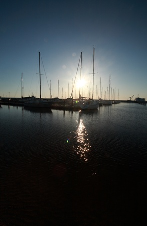 gimli: Sunrise at Gimli Marina on Lake Winnipeg