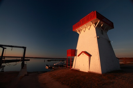lake winnipeg: Lighthouse and marina at Hecla in Manitoba