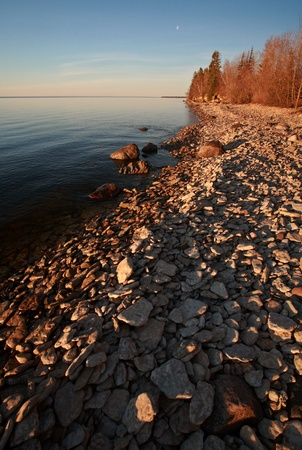 lake winnipeg: rocky shore of Lake Winnipeg