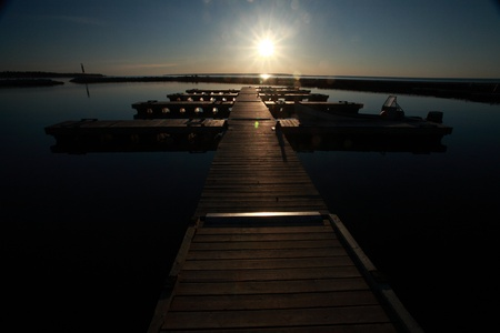 lake winnipeg: Marina on Hecla Island in Manitoba at sunrise