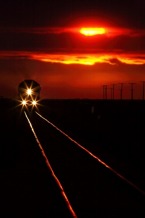 railway tracks: Scenic view of an approaching trrain near sunset