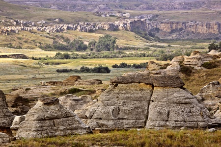 Rock formations at Writing On Stone Provincial Park of Alberta photo