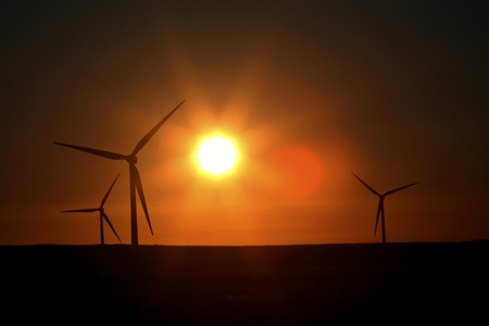 windfarm: Sun resplandor a Alberta windfarm Foto de archivo