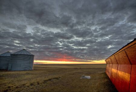 Sunset Saskatchewan Canada red sky farm granary barn Stock Photo - 8482573