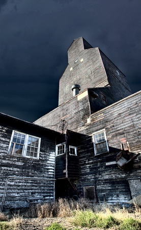 Old Grain Elevator wooden landmark Saskatchewan Canada photo