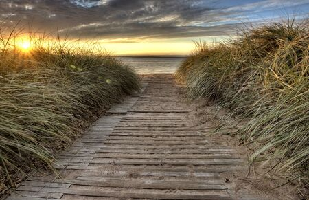 Beach Entrance Escanaba Michigan Sunrise photo