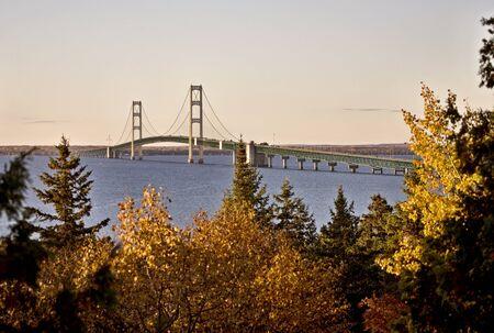 Mackinaw City Bridge Michigan Autumn Fall St Ignace Stock Photo - 8492780