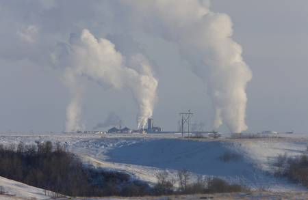 Pollution Industry fertilizer Plant Saskatchewan Canada Winter photo