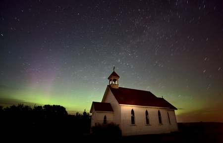 Night Church Northern Lights Saskatchewan Canada Aurora Borealis Stock Photo - 10702544