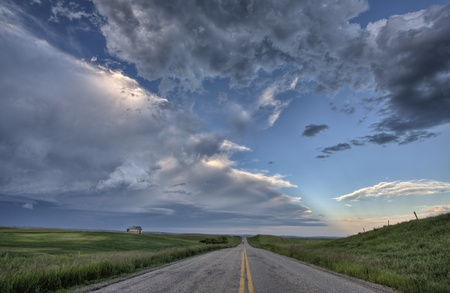 Prairie Road and School House Saskatchewan Canada photo