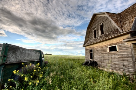 Vintage Farm Trucks Saskatchewan Canada weathered and old photo
