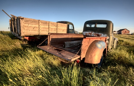 abandoned: Vintage Farm Trucks Saskatchewan Canada weathered and old