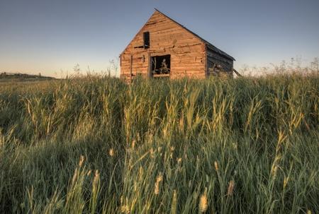 Abandoned Farmhouse Saskatchewan Canada sunset and prairie view Stock Photo - 10702569