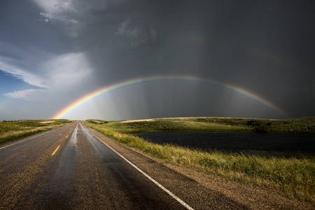 Prairie Road Storm Clouds Saskatchewan Canada field photo