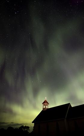 Night Church Northern Lights Saskatchewan Canada Aurora Borealis Stock Photo - 10702538