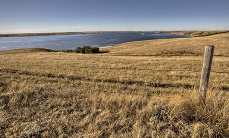 lake diefenbaker Saskatchewan Canada prairie grass and view Banco de Imagens