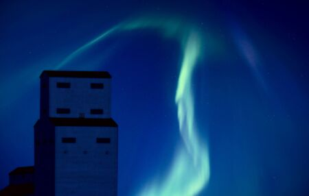 Northern Lights and Grain Elevator Saskatchewan Canada