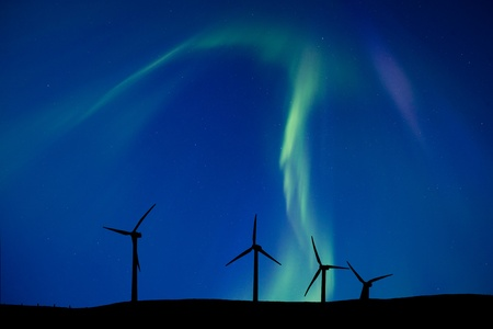 Wind Farm And Northern Lights Aurora Borealis Canada Stock Photo