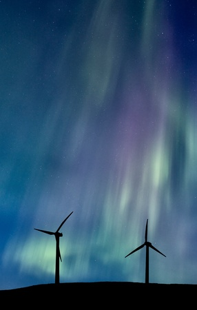 Wind Farm And Northern Lights Aurora Borealis Canada Stock Photo