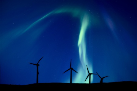 electric power station: Wind Farm And Northern Lights Aurora Borealis Canada Stock Photo