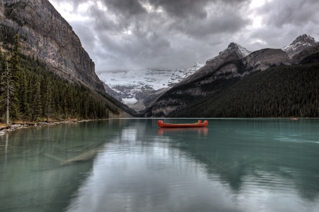 louise: Lake Louise Glacier  canoe and emerald color