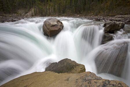 Sunwapta Waterfall Alberta Canada blurred water fall Reklamní fotografie